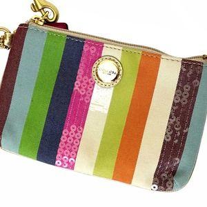 COACH Poppy Striped Multicolored Small Wristlet